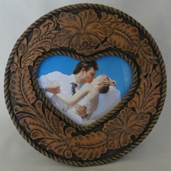 Tooled Leather Look Heart Frame, Brown