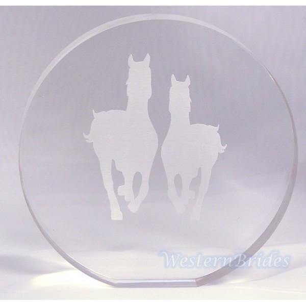 Acrylic Round Horses Cake Top