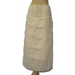 Pleated Front Tiered Long Skirt in Ivory