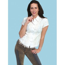 Pleated Front Cap Sleeve Lace Blouse in Ivory