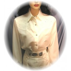 Embroidered Long Sleeve Bridal Blouse with Rhinestones, Ivory