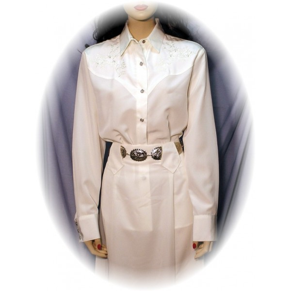 Embroidered Long Sleeve Bridal Blouse with Rhinestones, White