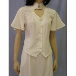 Heart Neck Short Sleeve Bridal Blouse and Flared Skirt Set