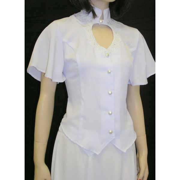 Heart Neck Short Sleeve Bridal Blouse, White