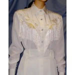 Long Sleeve Bridal Blouse, White with Off-White Fringe