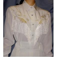 Long Sleeve Bridal Blouse, White with Off-White Fringe