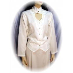 Heart Neck Long Sleeve Bridal Blouse in Ivory