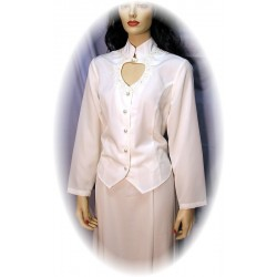 Heart Neck Long Sleeve Bridal Blouse in White