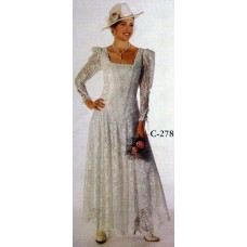Square Neck Tea Length Gown, White, Size 8