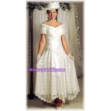 Fringe Off-Shoulder Western Wedding Gown, Ivory, size 8