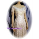 Fringe Off-Shoulder Western Wedding Gown, Ivory, size 8