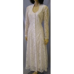 Queen Anne Neck Lace Dress in White