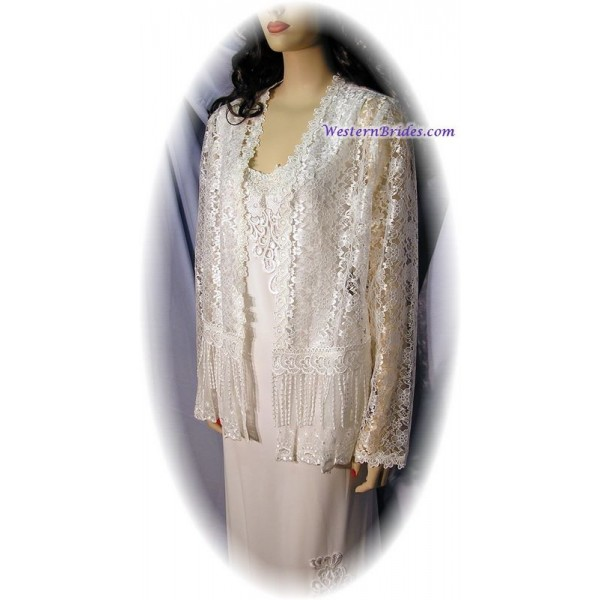 Short Lace Jacket, Ivory
