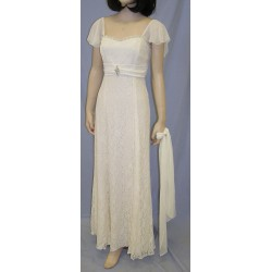 Vonda D Chiffon Sleeve Dress in Ivory