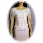 Fringed Rose Lace Top, White