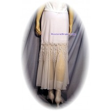 Fringed Rose Lace Skirt, White