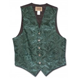 Floral Jacquard Men's Vest in Green