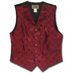 Floral Jacquard Men's Vest in Burgundy