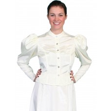 Moire Tie Back Blouse in Natural