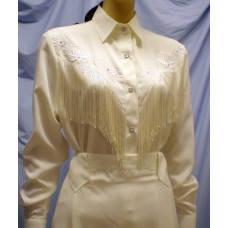 Long Sleeve Bridal Blouse with Fringe in Ivory