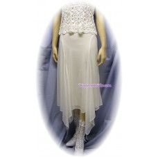 Chiffon 4 Point Hanky Hem Skirt in Ivory
