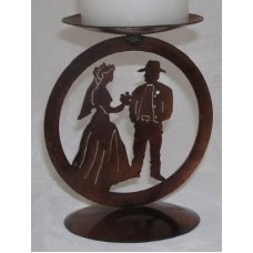 Cowboy Wedding Medallion Candle Holder