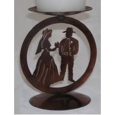 Cowboy Wedding Medallion Candle Holder